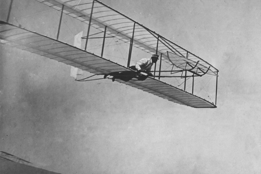 The first flight of the wright brothers - against the better judgement of the scientific experts of the time. Source: Wikipedia